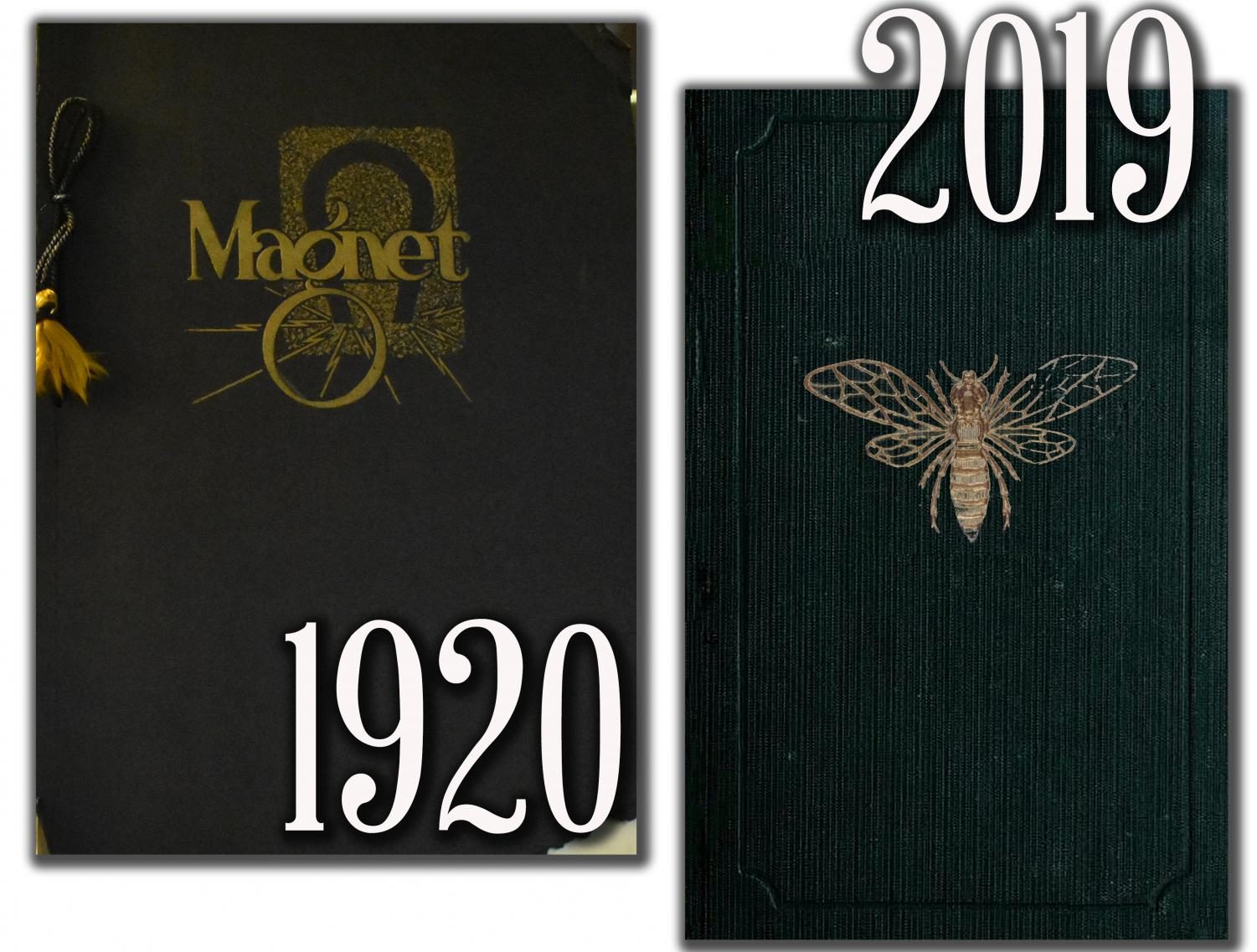 1920 Magnet: Starting a Tradition: Volume 1 of The Magnet looks very different from today's yearbooks. Named after the Magnetic waters that once drew visitors to Lebanon, this paperback yearbook features a tassel binding and a vintage Magnet design that was used on the cover for many years.   2019 Magnet Mockup: A Modern Take: This mockup of the 2019 Magnet cover features a vintage look with a black fabric wrap with a gold foil yellow jacket embossed in the center. This interior of the yearbook will contract the cover with a clean modern design.