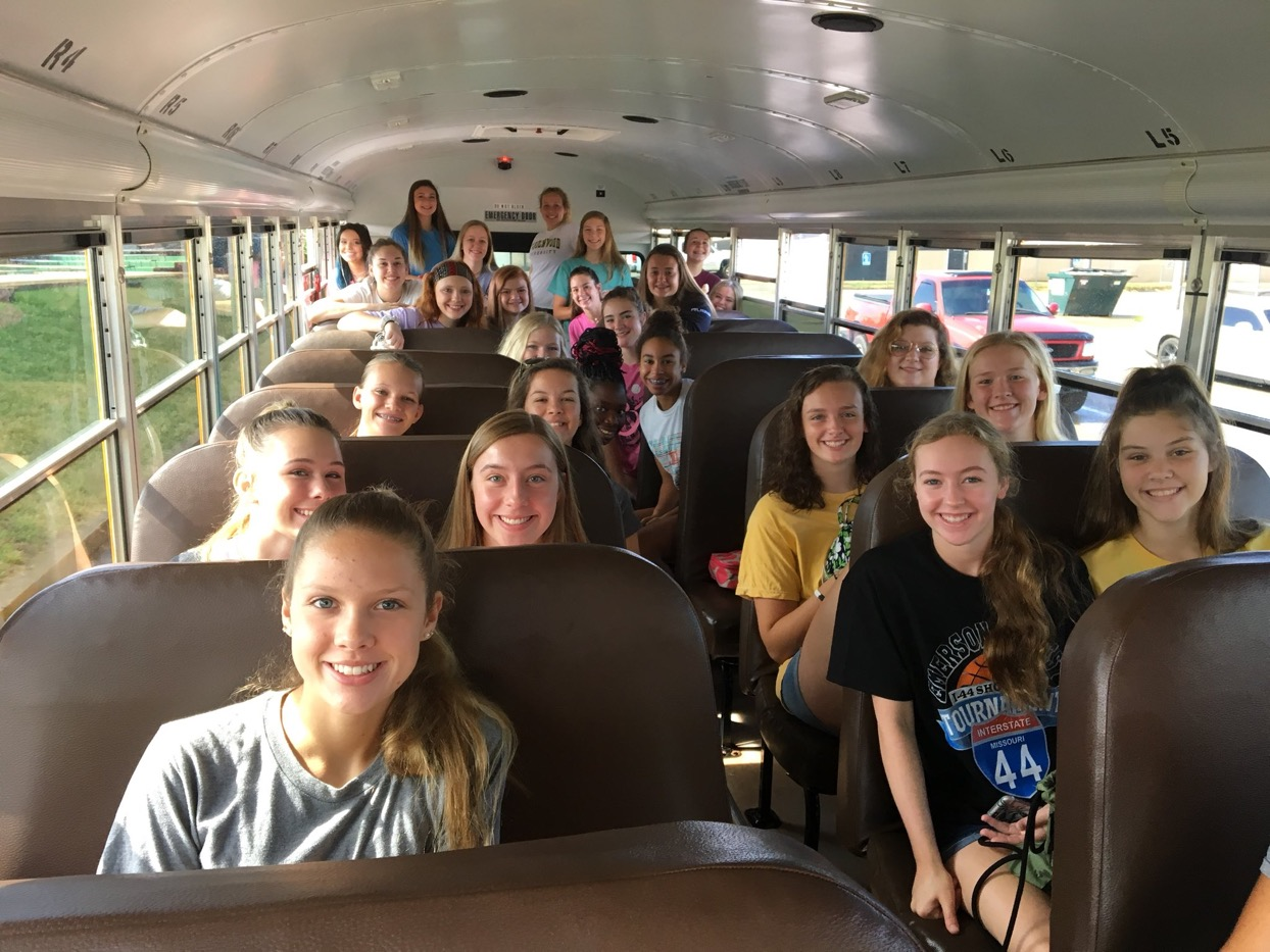 Time with the team and the coaches. The Lebanon volleyball team piled up on the bus for a fun day of team building in Branson.