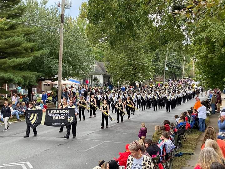The Marching Yellowjackets march in the Maple Leaf parade. The band got first place in their class.