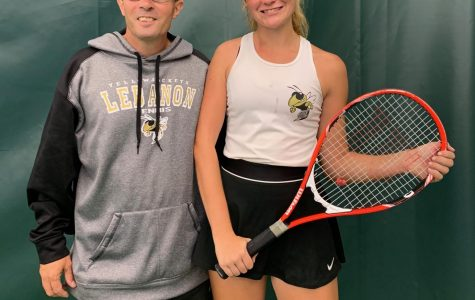 Coach Ron Crowell and senior Danessa Howe after a hard fought match at sectionals.