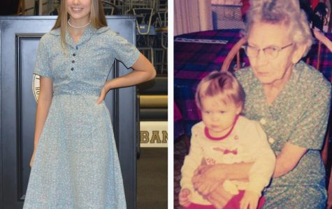 Left: Karagan Bean poses at the TALES Assembly wearing the dress that her great-great-grandmother made.  Right: Karagan's great-great-grandmother, Pearl Fox, wearing the same dress 20 years ago.
