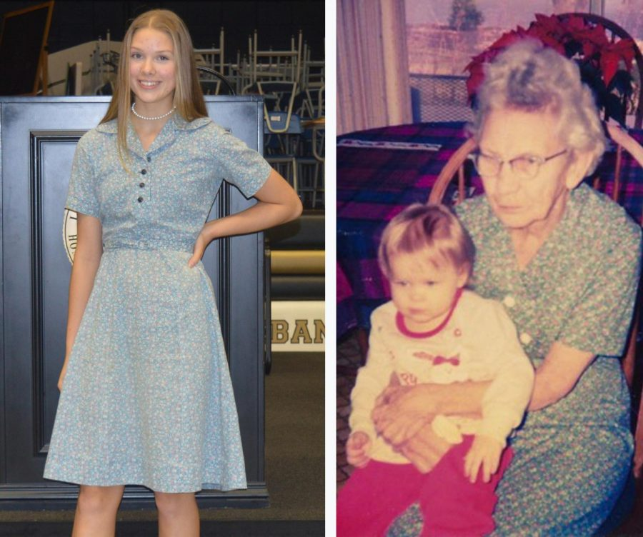 Left: Karagan Bean poses at the TALES Assembly wearing the dress that her great-great-grandmother made.  Right: Karagans great-great-grandmother, Pearl Fox, wearing the same dress 20 years ago.