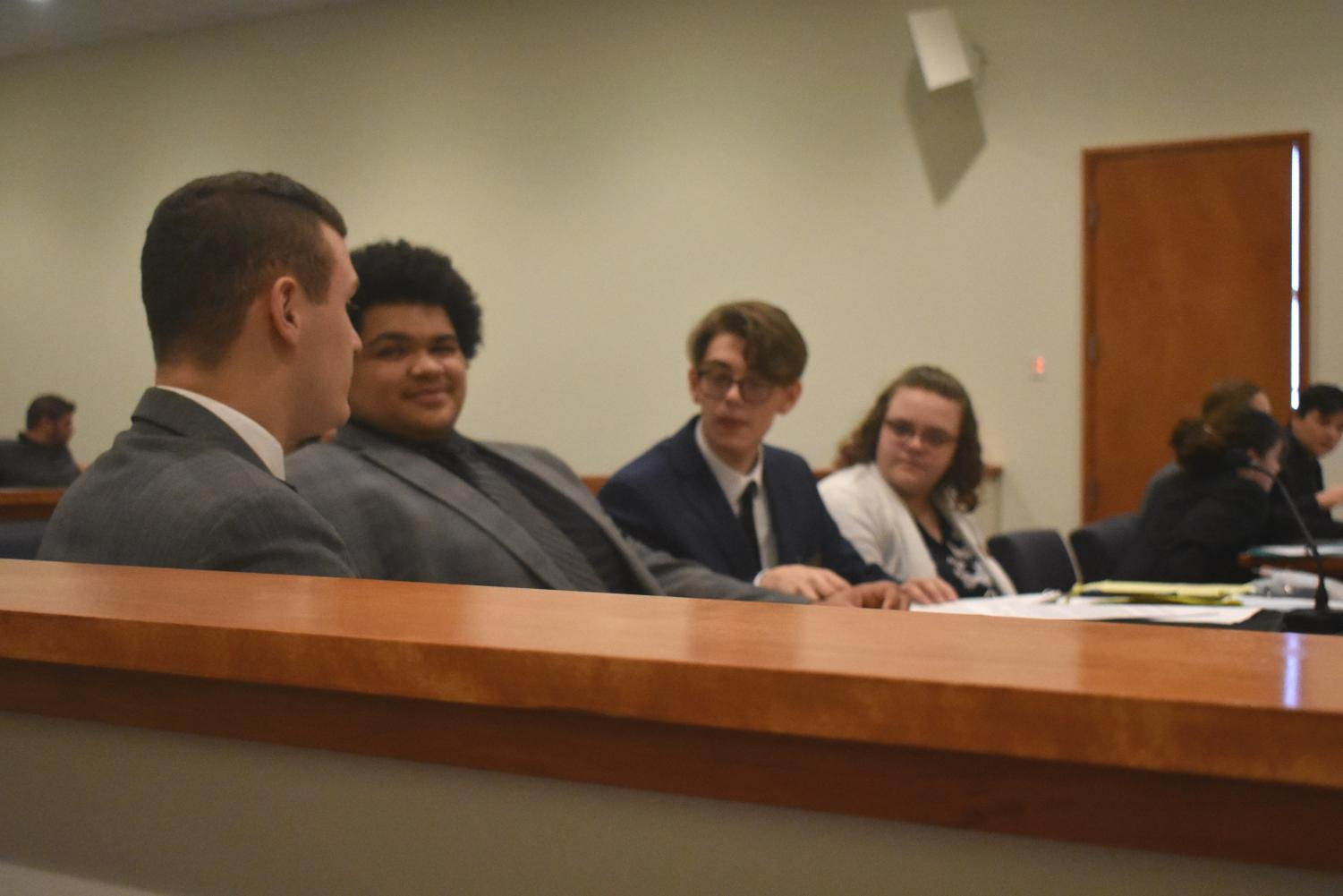 Trial Team jokes around in recess, where  the judge dismissed both teams as Prosecution (Lebanon's team) completed their witness list. Going through a week of preparation and a stressful 2 hour trial, its necessary to know when to let loose and when to act in a professional manner. During recess, both teams are able to take a break and reconvene later.