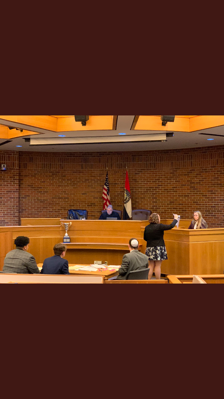 Jean Valentine presents evidence to the court in state competition for the trial portion of Constitution Project.