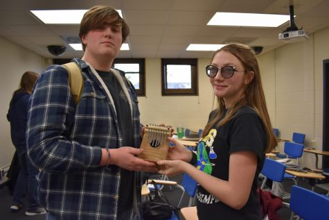Logan Phillips and Ashley Blechl pose with their sounds of music instrument. During the competition on February 22, Blechl and Phillips played twinkle twinkle little star.